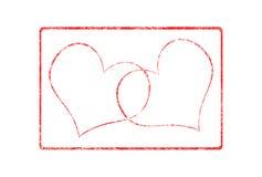 Timbro di gomma di Grunge del biglietto di S. Valentino dei due cuori Fotografie Stock Libere da Diritti