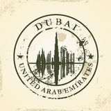 Timbro di gomma di lerciume con il Dubai, UAE Fotografia Stock Libera da Diritti