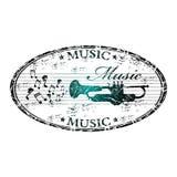 Timbro di gomma di musica Immagine Stock