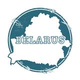 Timbro di gomma di lerciume con il nome e la mappa della Bielorussia Fotografia Stock Libera da Diritti