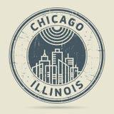 Timbro di gomma o etichetta di lerciume con testo Chicago, Illinois illustrazione vettoriale