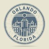Timbro di gomma o etichetta di lerciume con testo Orlando, Florida illustrazione vettoriale
