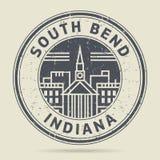 Timbro di gomma o etichetta di lerciume con testo South Bend, Indiana illustrazione di stock