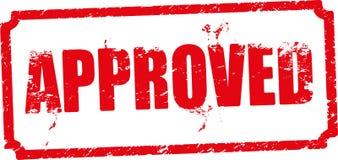 Timbro di gomma rosso approvato Fotografie Stock Libere da Diritti