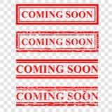 Timbro di gomma rosso di rettangolo, venente presto al fondo trasparente di effetto royalty illustrazione gratis