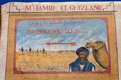 Timbuktu fifty days. Travel. The travel indication show the distance, by camel and on foot in the desert, from M'Hamid El Ghizlane, in the South of Morocco and Stock Photography