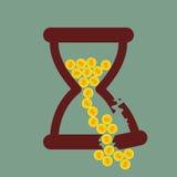 Time är pengar Brutet timglas med guld- mynt stock illustrationer
