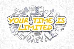Time σας Is Limited - κίτρινο κείμενο Doodle χρυσή ιδιοκτησία βασικών πλήκτρων επιχειρησιακής έννοιας που φθάνει στον ουρανό διανυσματική απεικόνιση