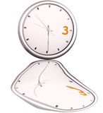 Time. 3 orange metallic modern wall clock white isolated Royalty Free Stock Photos