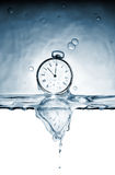 Time. Old pocket watch in the deformed reflexion of time in water royalty free stock photos