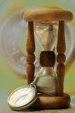 Time. Retro still life with old hour glass and timer Stock Photography
