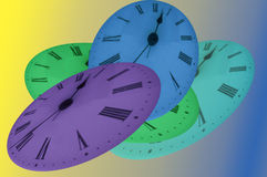 Time. Shown on clock faces in four different colors royalty free illustration