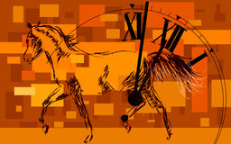 Time. Horse symbol of time and success clock and horse Royalty Free Stock Images
