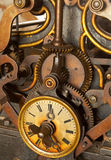 Time. The machinery of old and dirty clock. Shallow DOF Royalty Free Stock Photo