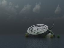Time. Fallen clock monument at the ocean - 3d illustration Stock Photo