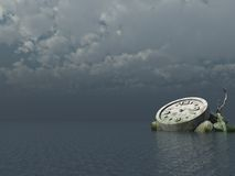 Time. Stone clock at the ocean - 3d illustration Royalty Free Stock Photos