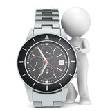 Time. 3D little human character with a Chronograph Watch Royalty Free Stock Image