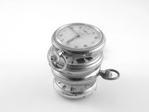 Time. Stack of vintage  pocket watches Royalty Free Stock Photos