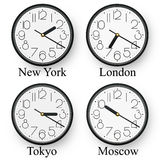 Time. Watches in diferent cities of the world Royalty Free Stock Images