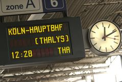 On time. Train platform info on a journey to Germany from Belgium royalty free stock photos