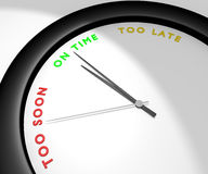 On Time. A wall clock says 'on time' symbolizes sense of timing, punctuality... Other pics of the same set: 'too soon' and 'too late'. Computer generated image Stock Photos