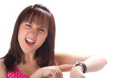 It is time!. Girl with watch isolated in white background Stock Images