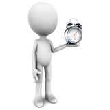 Time. Little 3d man holding an alarm clock over white background, time piece in chrome Stock Photos