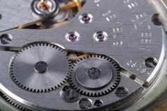 Time. Old mechanic watch close-up shot Stock Photography