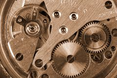 Time. Old mechanic watch close-up shot Royalty Free Stock Photography