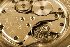 Time. Old mechanic watch close-up shot Royalty Free Stock Photo