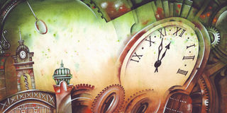 Time. Original watercolor illustration by Eugene Ivanov Royalty Free Stock Photo