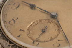 Time. Detail of vintage 100 years old omega clock Stock Images