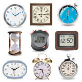 Time. Clocks, hourglass, compass and stopwatch- time concept Royalty Free Stock Photo