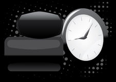Time abstract background. Time dark abstract background with glossy clock and shiny elements Stock Image