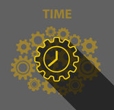 Time abstract concept flat design, clock and gears Stock Photos