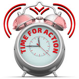 Time for action. The alarm clock with an inscription Royalty Free Stock Image