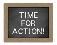Time for action. On blackboard with white background Royalty Free Stock Image