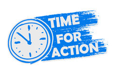 Time for action with clock, blue drawn banner with sign Stock Photography