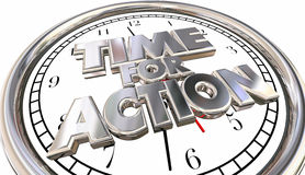 Time for Action Clock Now Move Progress Succeed Words Stock Images