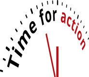 Time for action clock. Red and black text on white background Stock Photos