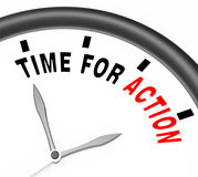 Time for Action Clock To Inspire And Motivate Stock Photos
