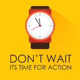 Time for Action and Dont Wait. Concept. Stopwatch clock ticking on dark yellow background. Modern flat design. Negative space on bottom can be used to extra Stock Image