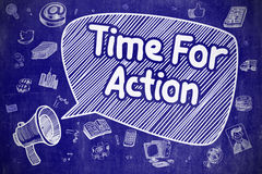 Time For Action - Doodle Illustration on Blue Chalkboard. Royalty Free Stock Photography