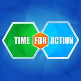 Time for action in hexagons, flat design Royalty Free Stock Photography