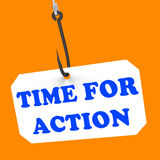 Time For Action On Hook Means Encouragement Royalty Free Stock Image