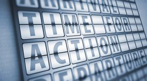Time for action information on display board Royalty Free Stock Image