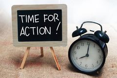 Time For Action, Motivational Words Quotes Concept stock photo