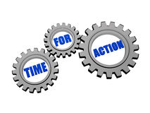 Time for action in silver grey gears Stock Image