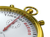 Time for action. Stopwatch on white background. Isolated 3D image Stock Photo