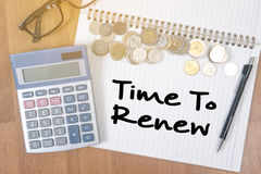 Time For Action time to Change (time to renew). A finance Money, calculator notes, calculator top view with work Stock Photography